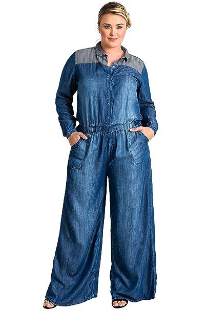 e7ec56d07a8 Standards   Practices Plus Size Modern Women s Contrast Shoulder Flare  Jumpsuit ...