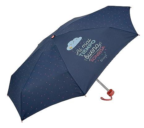 "Paraguas plegable Mr. WonderfulAl mal tiempo buena sonrisa"" Morado"