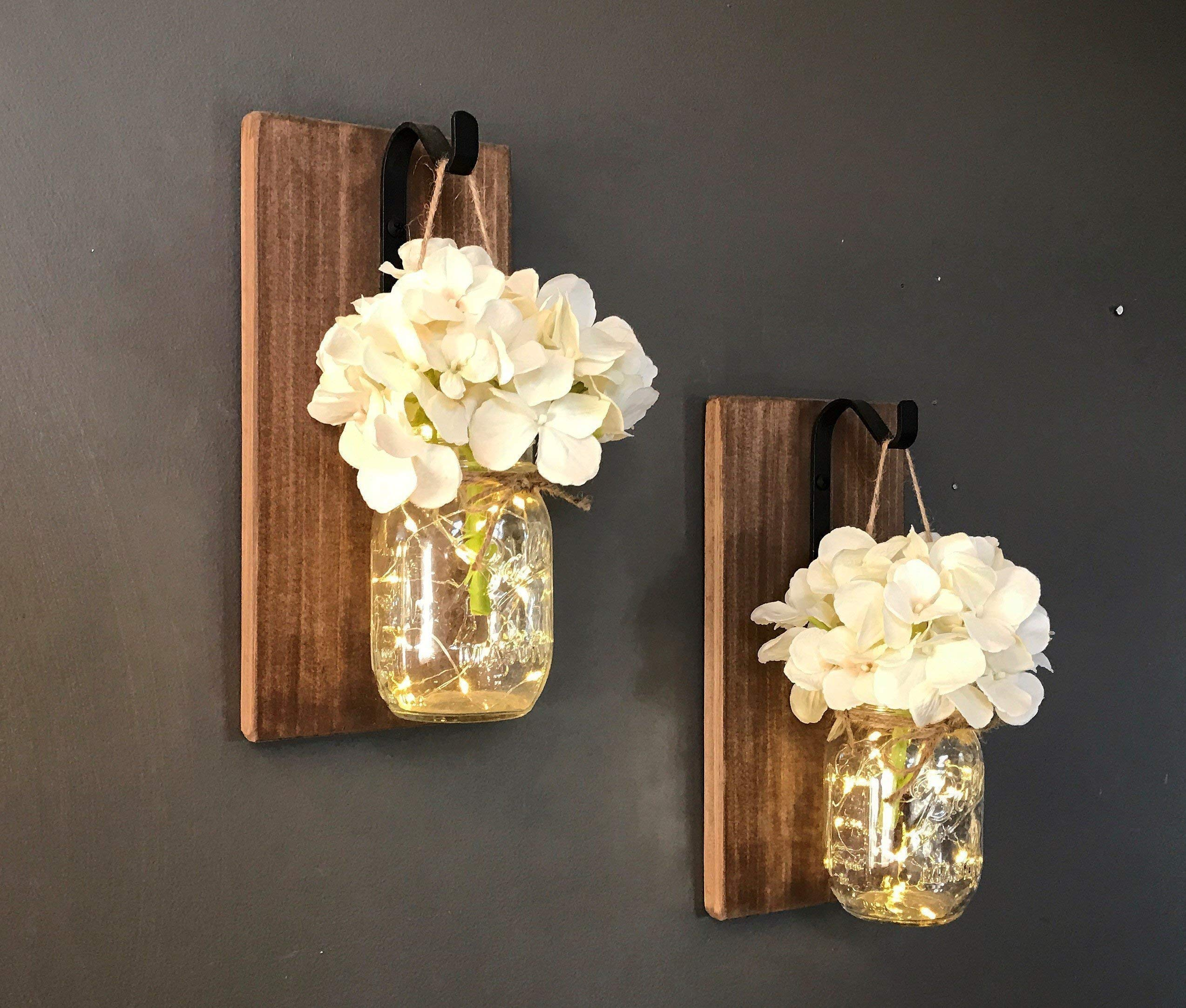 Set of 2 Mason Jar Sconces, Hanging Sconce, Mason Jar Decor, Wall Sconce, Home Decor