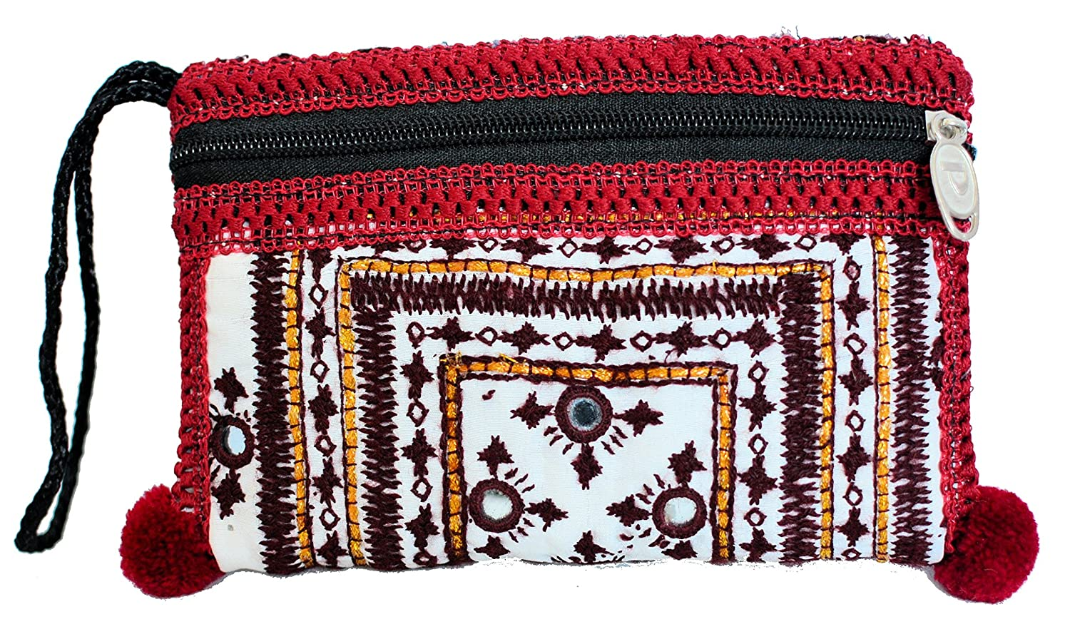 Zee's Creations Women's Sindhi Hand Embroidered Multicolor Clutch Bag