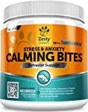 Zesty Paws Calming Soft Chews for Dogs - Anxiety Composure Aid Treats with Suntheanine - Organic Hemp & Valerian Root + L Tryptophan for Dog Stress Relief - For Storms + Barking & Chewing - 90 ct