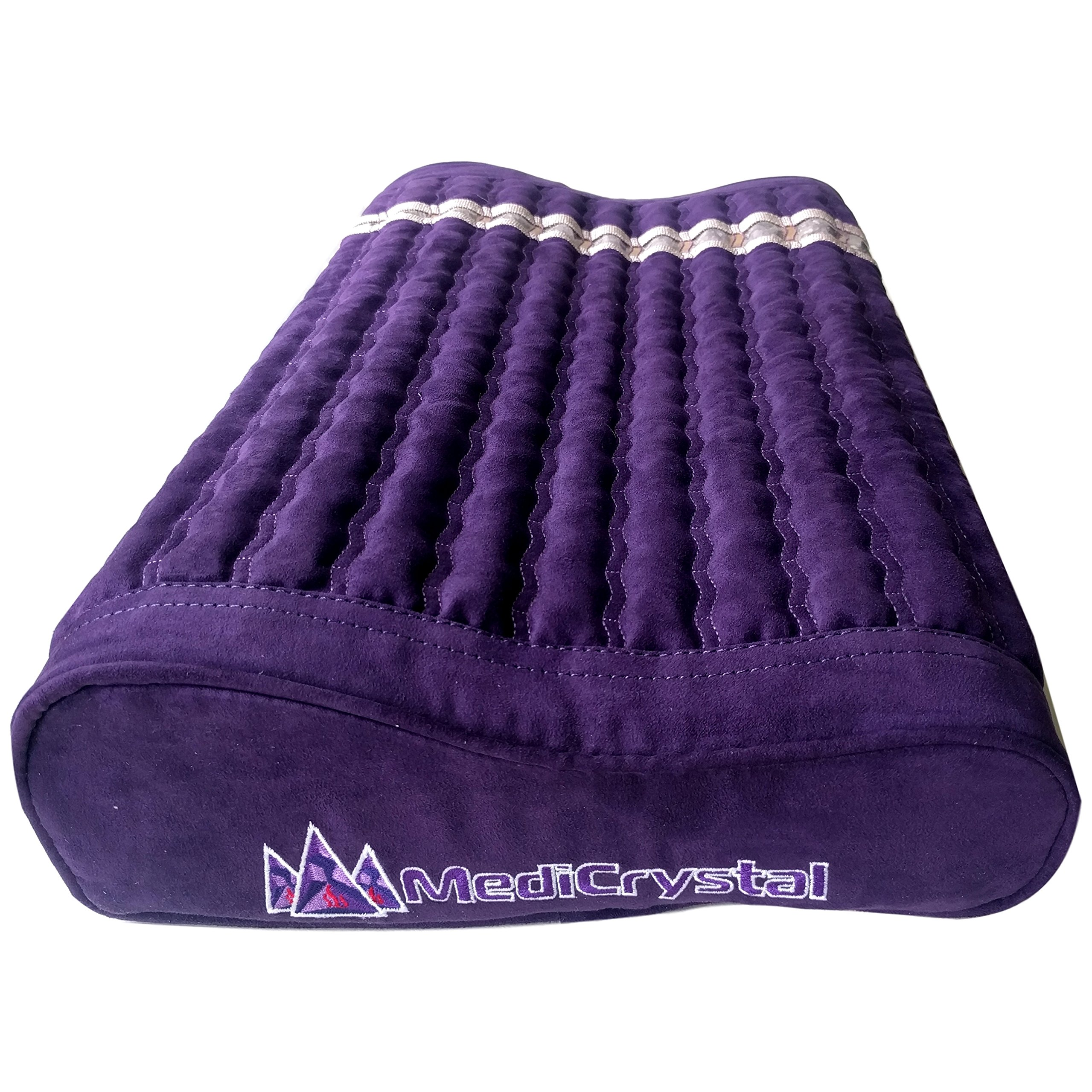 Far Infrared Amethyst Mat Pillow - Emits Negative Ions - Crystal FIR Rays - 100% Natural Amethyst Gemstones - Non Electric - For Headache and Stress Relief - To Sleep Better - GENTLE support - Purple by MediCrystal (Image #3)