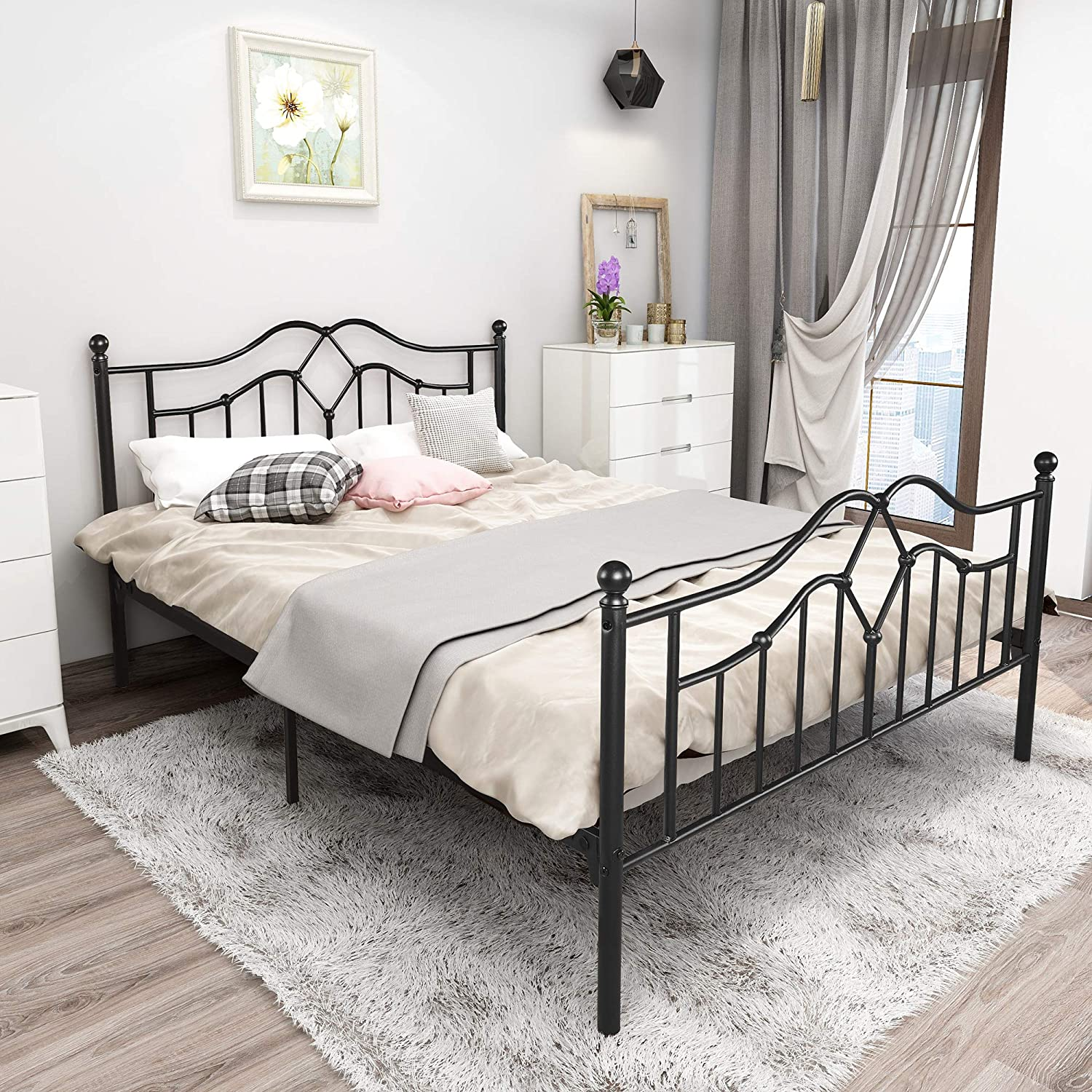 Vintage Queen Size Metal Bed Frame with Headboard and Footboard Basic Bed Frame No Box Spring Needed,Queen, Black