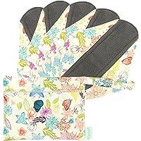 Wegreeco Bamboo Reusable Sanitary Pads - Cloth Sanitary Pads | Bladder Support & Incontinence Pads | Reusable Menstrual Pads - Pack of 5, 1 Cloth Mini Wet Bag Bonus (Small, Camellia Beauty)