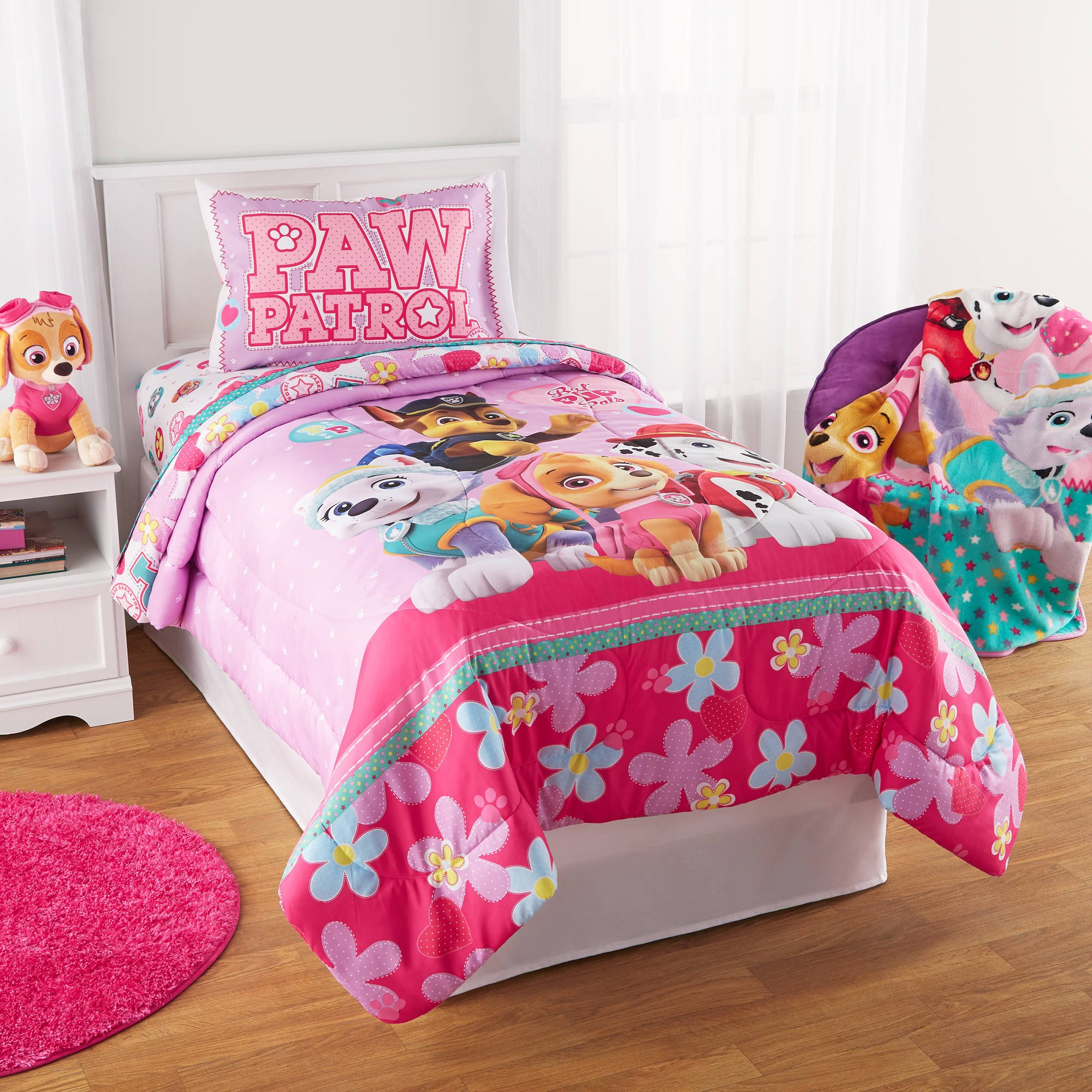 Paw Patrol Puppy Girls Pink Twin Comforter & Sheets (4 Piece Kids Bed In A Bag) + HOMEMADE WAX MELT