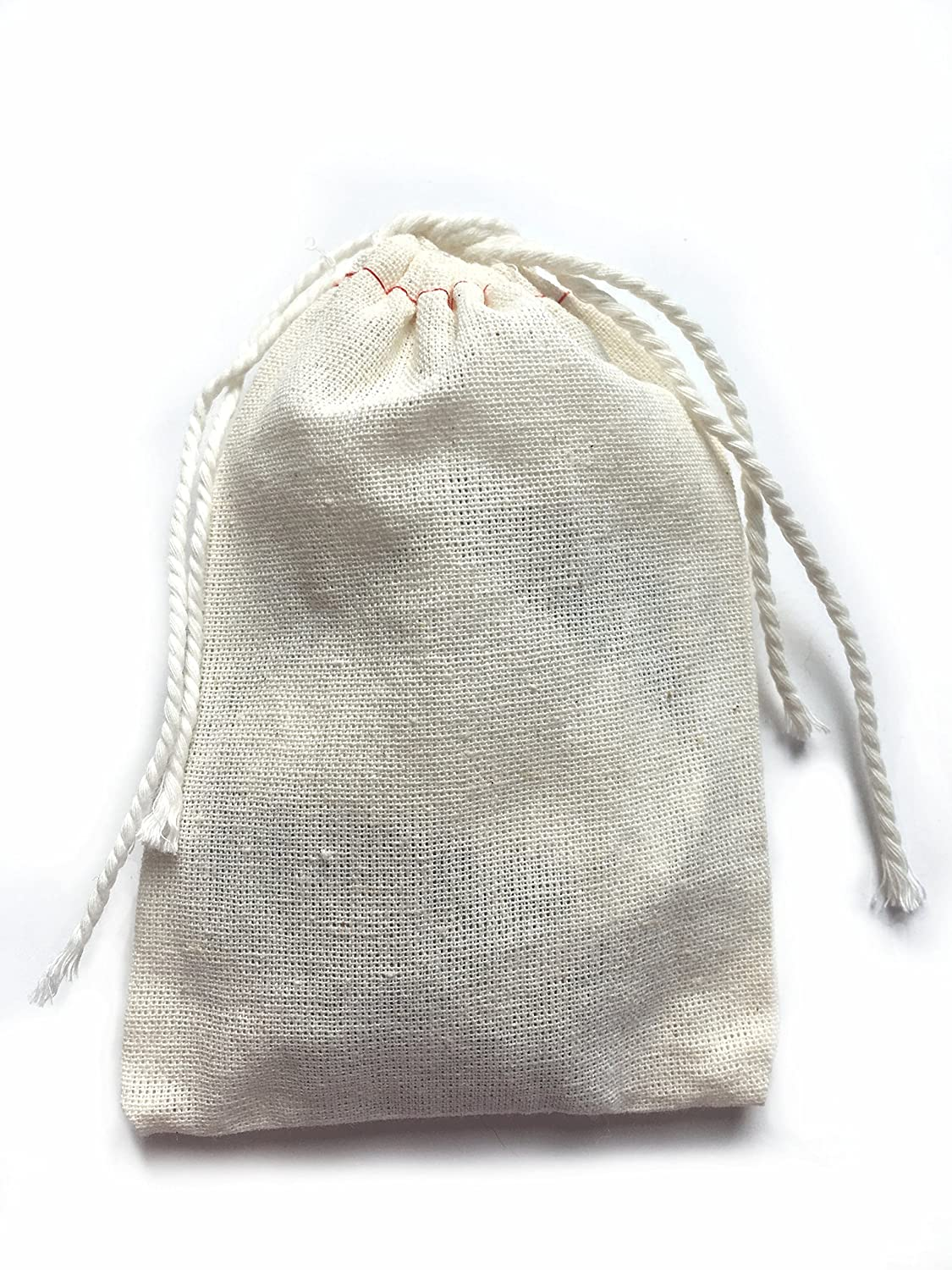 6906b7d30d Amazon.com  Small Cotton Muslin Cloth Double Drawstring Bag 3x5 inch 25  count  Kitchen   Dining