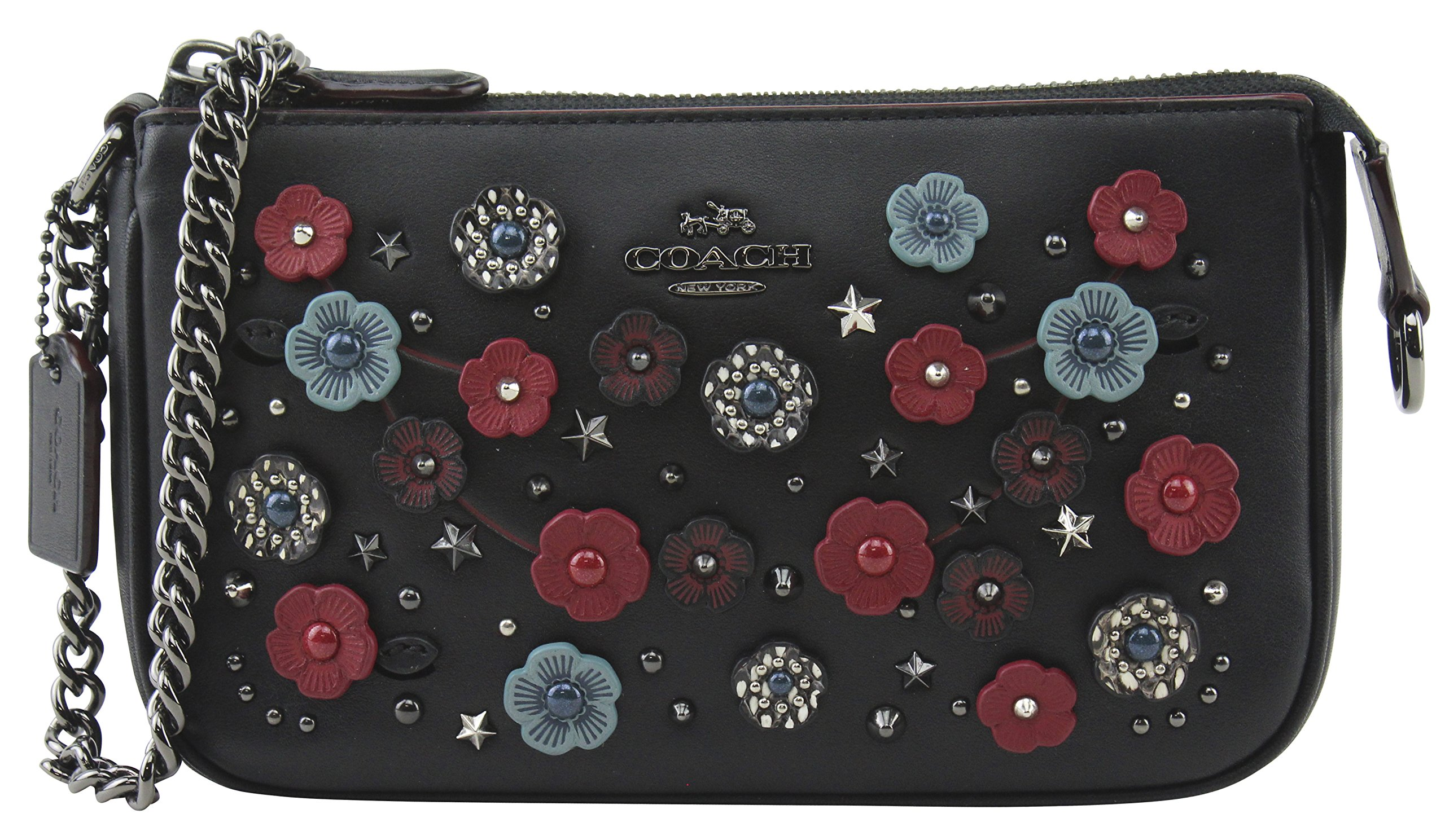 Coach Women's Nolita Black Wristlet 19 with Tea Rose and Snakeskin Detail, Style F59772