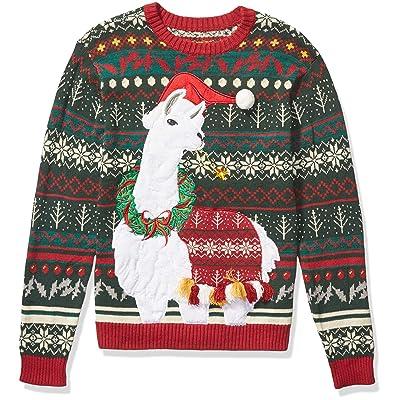 Blizzard Bay Men's Ugly Christmas Sweater Llama, Green/Burgundy, Medium at Men's Clothing store