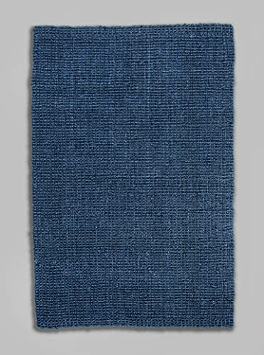 Fab Habitat Jute Rugs – Handmade, Soft Natural Feel Underfoot – Durable, Textured Weave – Area Rug for Indoor Use – Lassen – Navy Blue 8 x 10