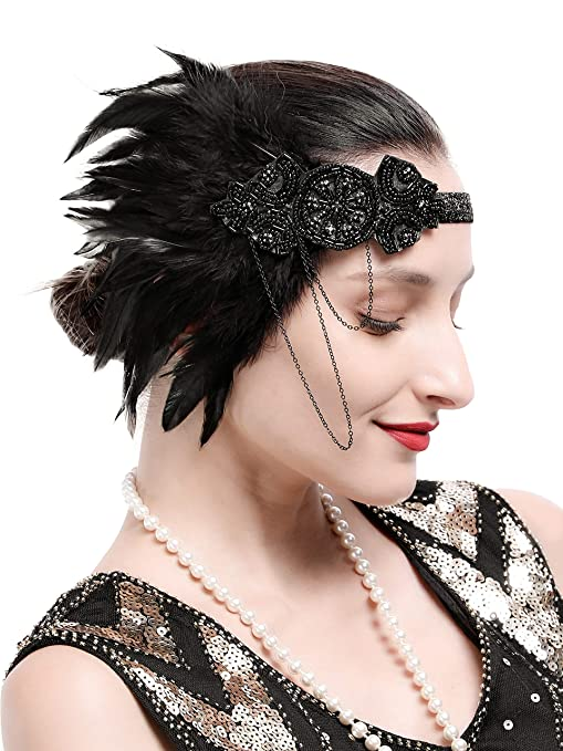 Vintage Dresses Australia- 20s, 30s, 40s, 50s, 60s, 70s Zivyes 1920s Gatsby Flapper Feather Headband 20s Accessories Crystal Beaded Wedding Headpiece AUD 16.86 AT vintagedancer.com