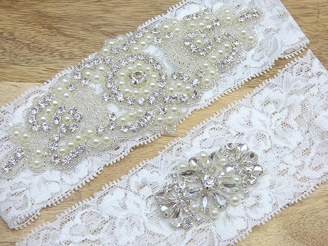Amazon Audrey White Lace Rhinestone Bridal Garter Wedding