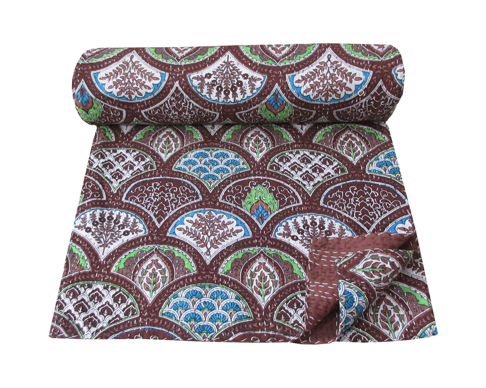 Magic Indians Brown Handmade Sari Kantha Quilt Floral Bird Design Kantha Bedspread Indian Cotton Kantha Blanket Kantha Bed Cover Queen Size Kantha Beach Throw Picnic Throw Kantha Wall Decor