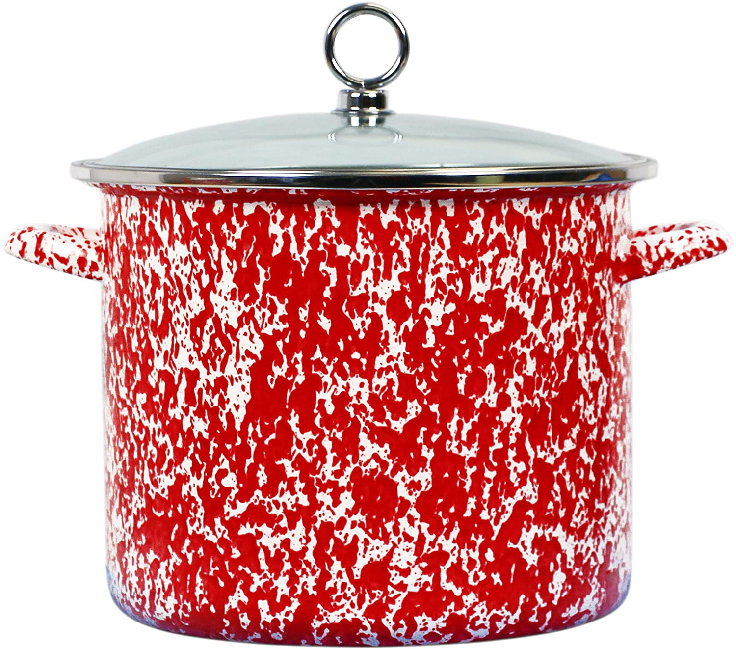 Calypso Basics by Reston Lloyd Vintage Marble Enamel on Steel Stockpot with Glass Lid, 1.5-Quart, Lime 59891