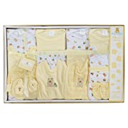 Big Oshi 15 Piece Layette Newborn Baby Gift Set - Great Baby Shower or Registry Gift Box to Welcome a New Arrival - All Essentials Including: Bodysuits, Shirts, Pants, Bibs, and More, Yellow