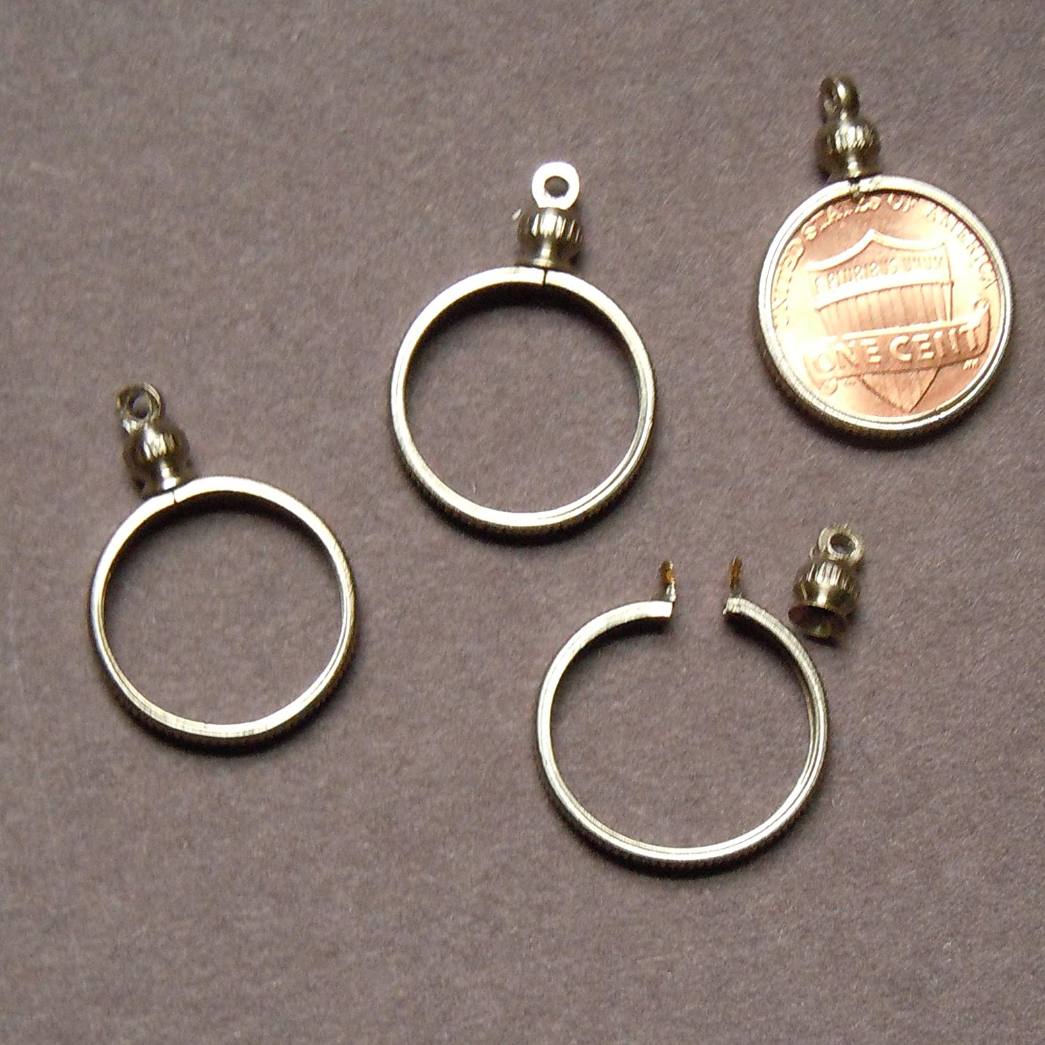 1 cent / USA PENNY Coin Holder Bezel ~ for charm, necklace, pendant, display (Pack of 4) 9782-32198