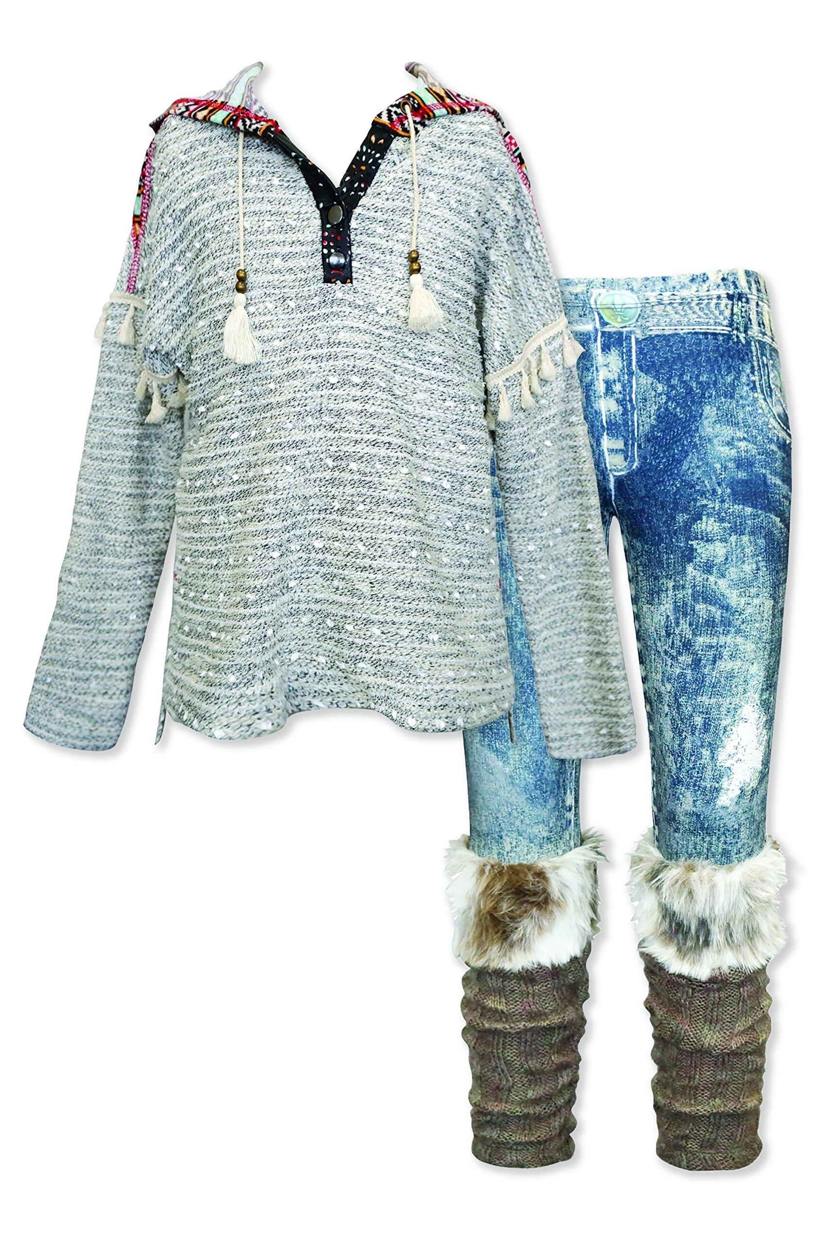 SaraSara Girls' Long Sleeve Embellished Top & Bottom Set, 2-6X, 7-14 (7, Heather Grey Multi)