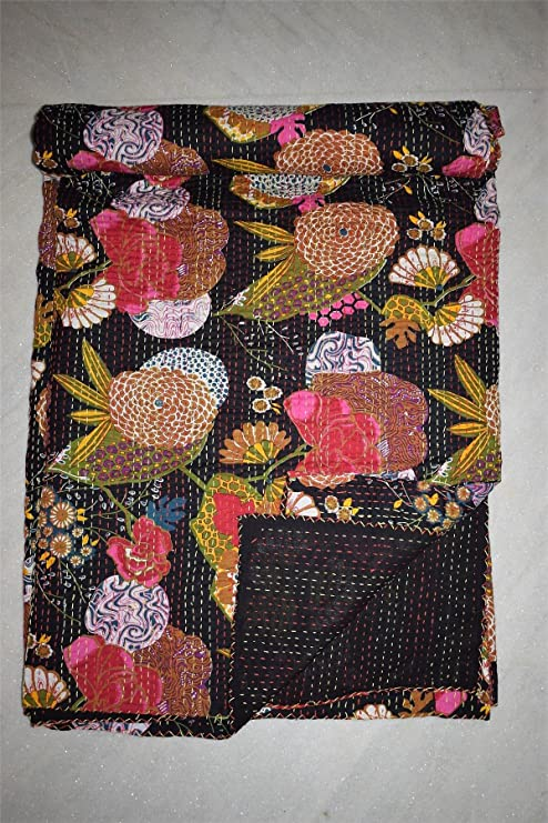 Gypsia Studio diseño Floral Colcha Manta Vintage Kantha Manta Ropa de Cama para Cama de Matrimonio algodón edredón ...