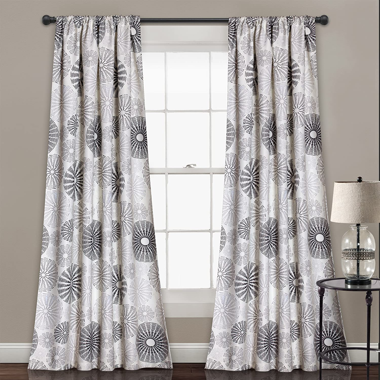 "Lush Decor Multi Circles Room Darkening Window Curtain Panel Pair, 84"" x 52"", Charcoal"