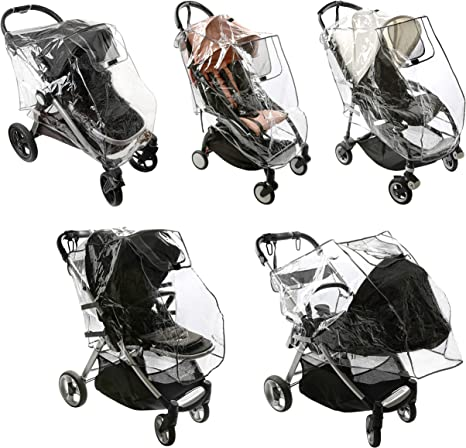 Stroller Rain Cover Universal Rain with Net Venting Sides Deluxe Stroller Weather Shield Storage Bag Included - Baby Shnookums Snow and Windproof Travel Cover for Single Strollers