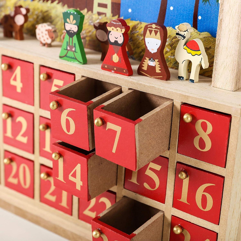 34,5 x 32 x 6 cm Blu//Rosso Brubaker Calendario dellAvvento presepe in Legno