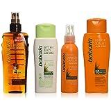 Babaria - Aceite bronceador SPF4 + Hidratante para después del sol + Spray protección capilar + Leche solar SPF15 - 1 pack