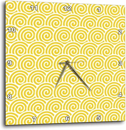 3dRose Yellow and White Swirls Pattern – Wall Clock, 10 by 10-Inch DPP_210896_1