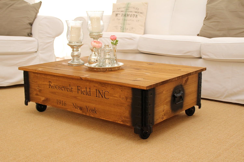 Uncle Joe/´s Tavolino Baule in Legno tavolino Vintage Shabby Chic Legno massello Noce