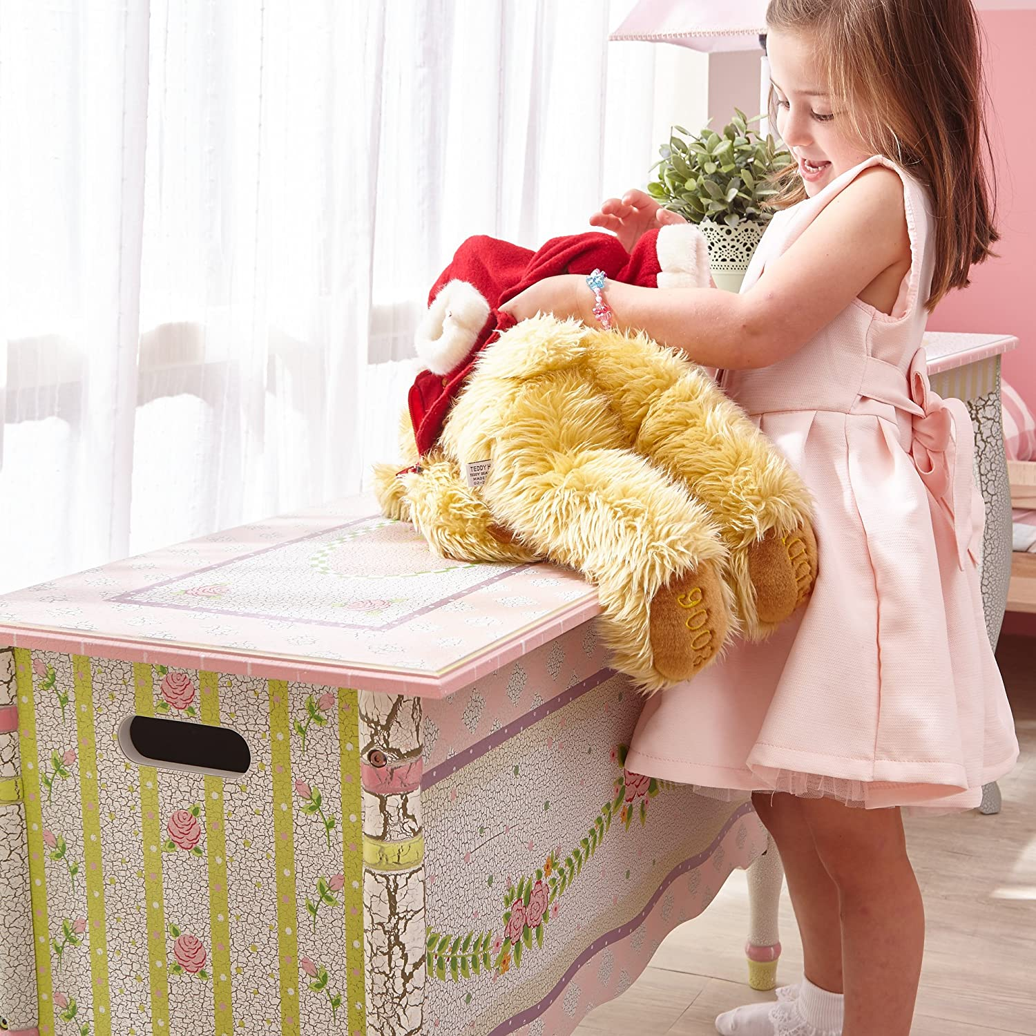 Kids wooden toy chest sunny safari - Amazon Com Fantasy Fields Crackled Rose Thematic Kids Wooden Toy Chest With Safety Hinges Imagination Inspiring Hand Crafted Hand Painted Details