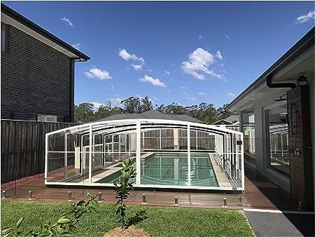 ClearYup Carcasa para piscina, tapas de protección para piscinas de invierno, cubiertas para piscinas telescópicas, fabricada en metal sólido y policarbonato: Amazon.es: Jardín