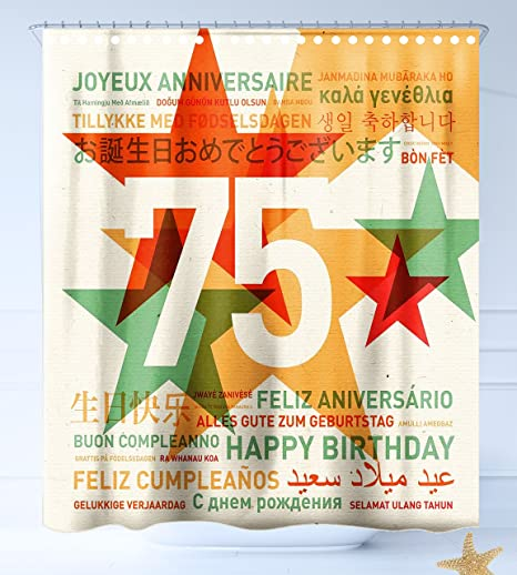 Haixia shower curtain 75th birthday decorations worldwide greetings haixia shower curtain 75th birthday decorations worldwide greetings in different languages stars retro background m4hsunfo