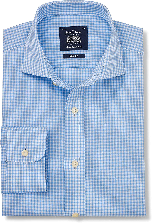 Barrel Cuff Cuff Savile Row Mens Blue White Gingham Check Slim Fit Shirt
