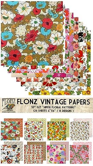 Paper Pack (24blatt 15x15cm) Hippie Flowers FLONZ Vintage Muster ...