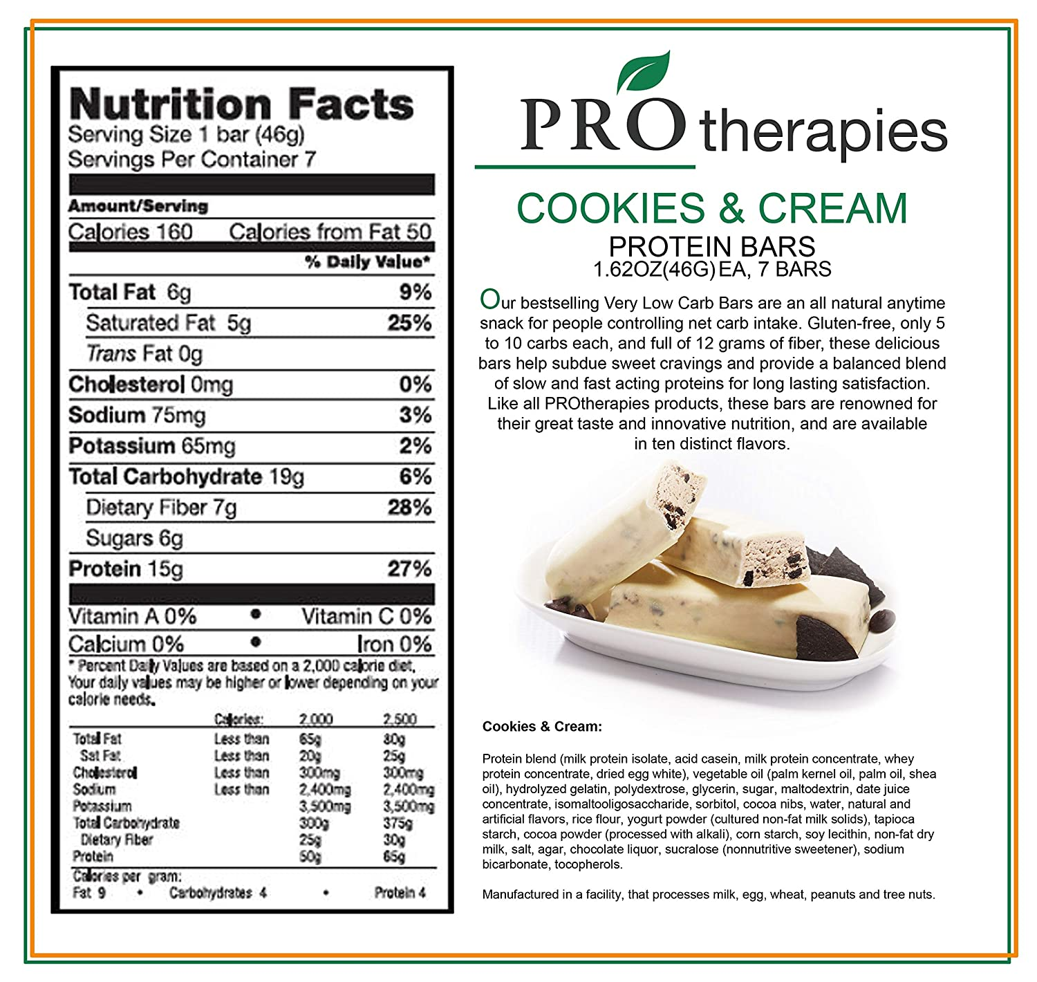 Amazon.com: ProTherapies Protein Bar 15g- Low Carb High-Protein Weight Loss Snack Bar for Healthy Diets, Cookies & Cream, 7 Count: Health & Personal Care