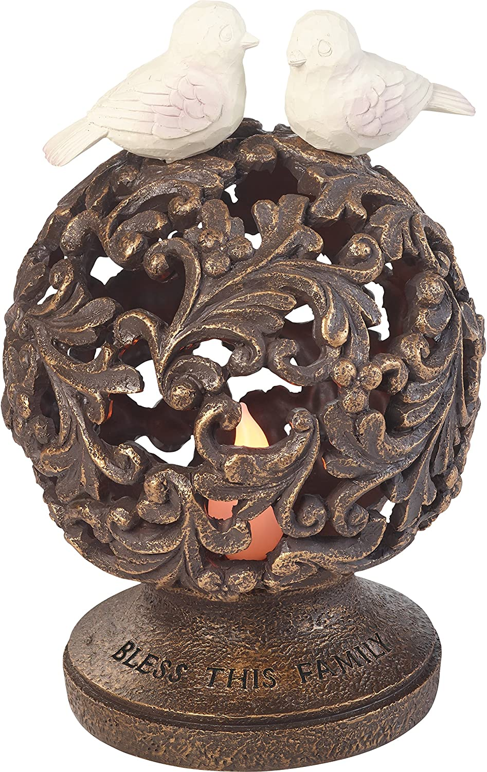 Garden Gifts by Precious Moments Bless This Family Resin LED Solar Rustic Tabletop Garden Décor Sculpture 185009