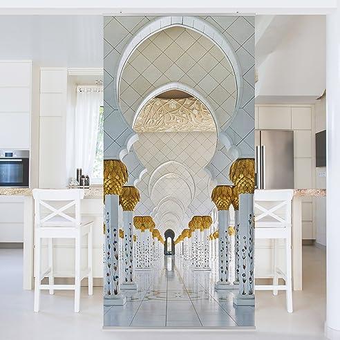 raumteiler moschee in abu dhabi 250x120cm schiebegardine schiebevorhang raumtrenner vorhang raumteiler gardine paravent wandbild - Raumtrennvorhnge