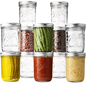 Ball Wide Mouth Mason Jars (16 oz/Pint capacity) 12 Pack. With Airtight lids and Bands - For Canning, Fermenting, Pickling, Freezing - Jar Decor. Microwave & Dishwasher Safe. + SEWANTA Jar Opener