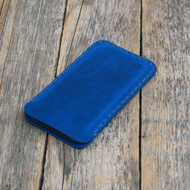 Azul funda de cuero para iPhone XS X caja de funda bolsa. Cosido a mano.