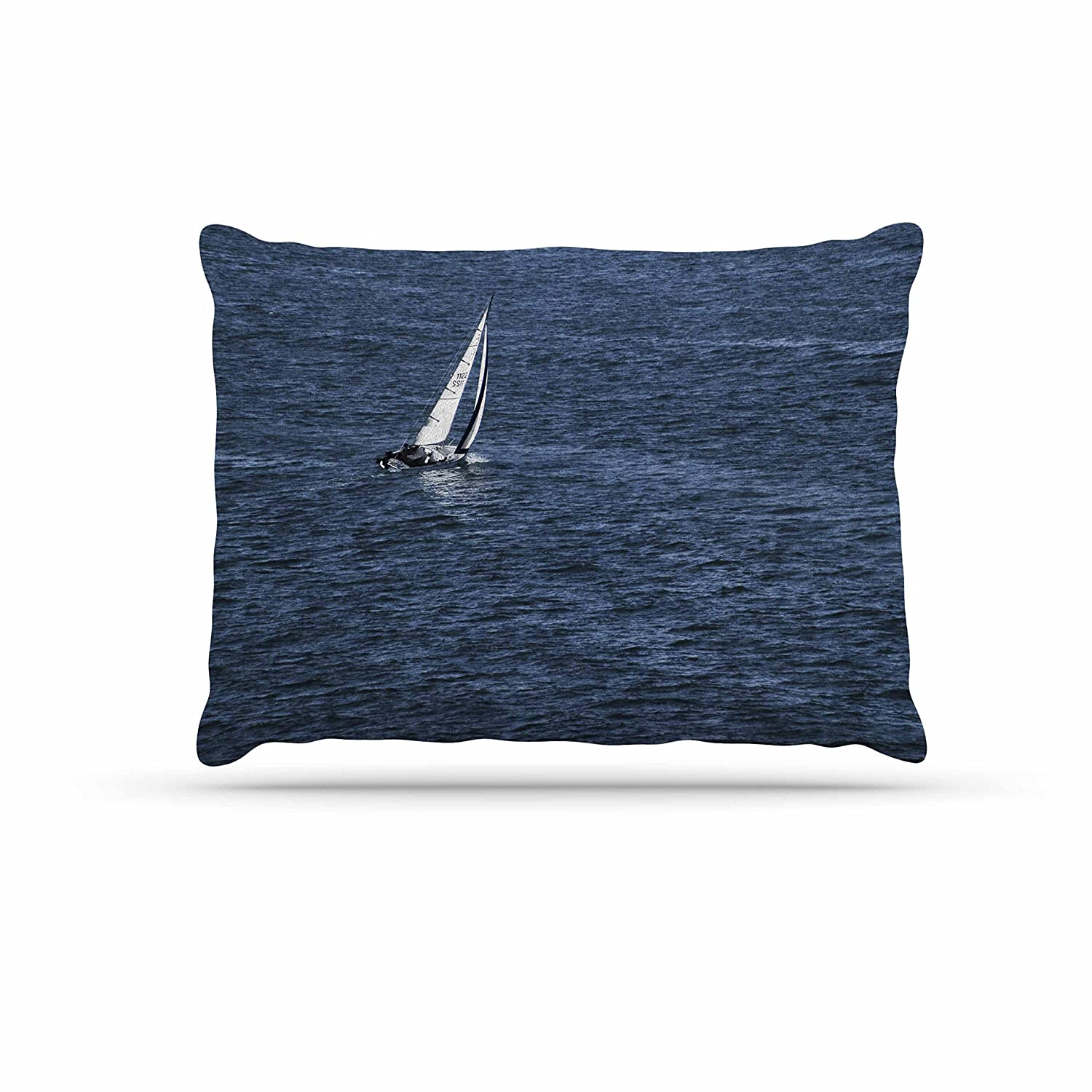 Kess InHouse Nick Nareshni Boat On The Ocean  bluee Fleece Dog Bed, 30 by 40
