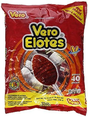 Vero Elotes Paletas Sabor Fresa Con Chile Mexican Hard Candy Chili Pops 40 Pcs