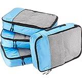 AmazonBasics 4 Piece Packing Travel Organizer Cubes Set - Medium, Sky Blue