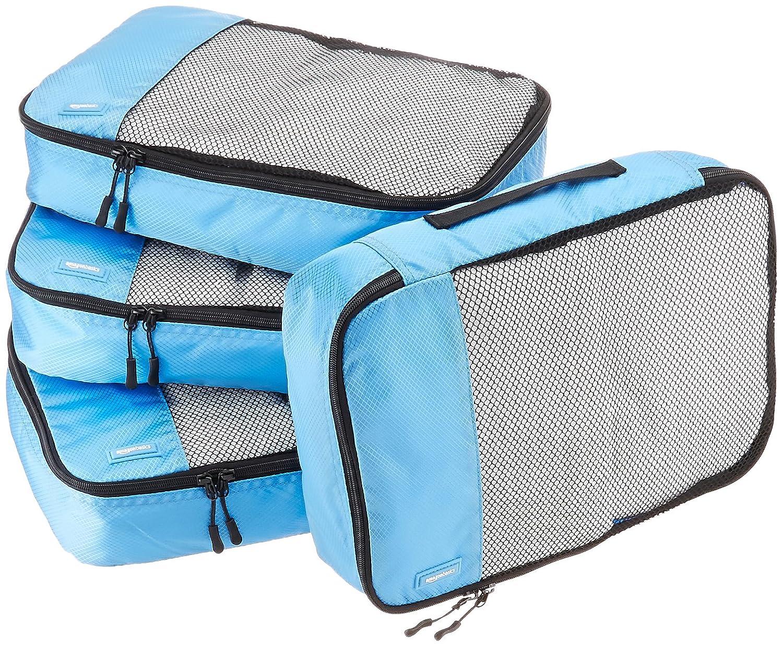 AmazonBasics 4-Piece Packing Cube Set - Medium, Sky Blue