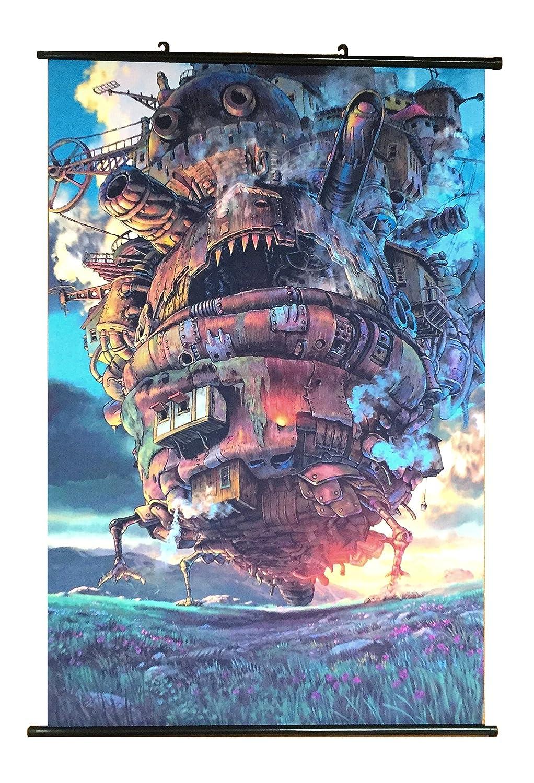 Wallscrolls-Wonderland Das wandelnde Schloss Wallscroll Stoffposter Plakat Rollbild Tapete Dekoration Geschenk Anime Manga Home Design Wall Decoration Gift Present 60x90CM