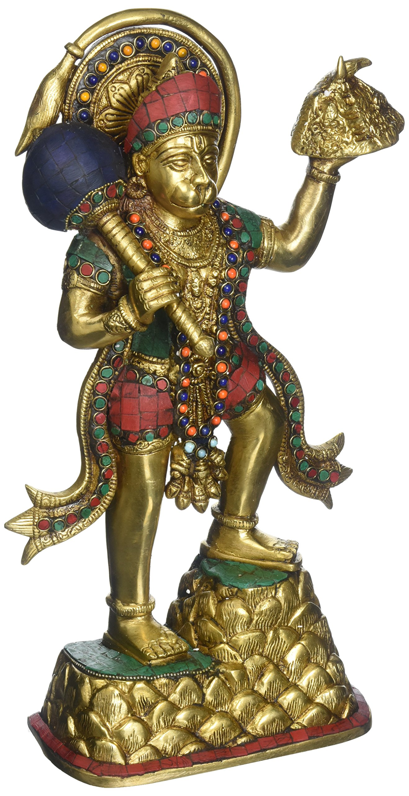 Aone India 15'' Large Hanuman Brass Statue Hindu God of Strength sculptures-temple offering idol sculptures + Cash Envelope (Pack Of 10)