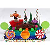 Wreck-It Ralph Birthday Cupcake Topper Set Featuring Ralph & Vanellope Figures and Decorative Themed Accessories