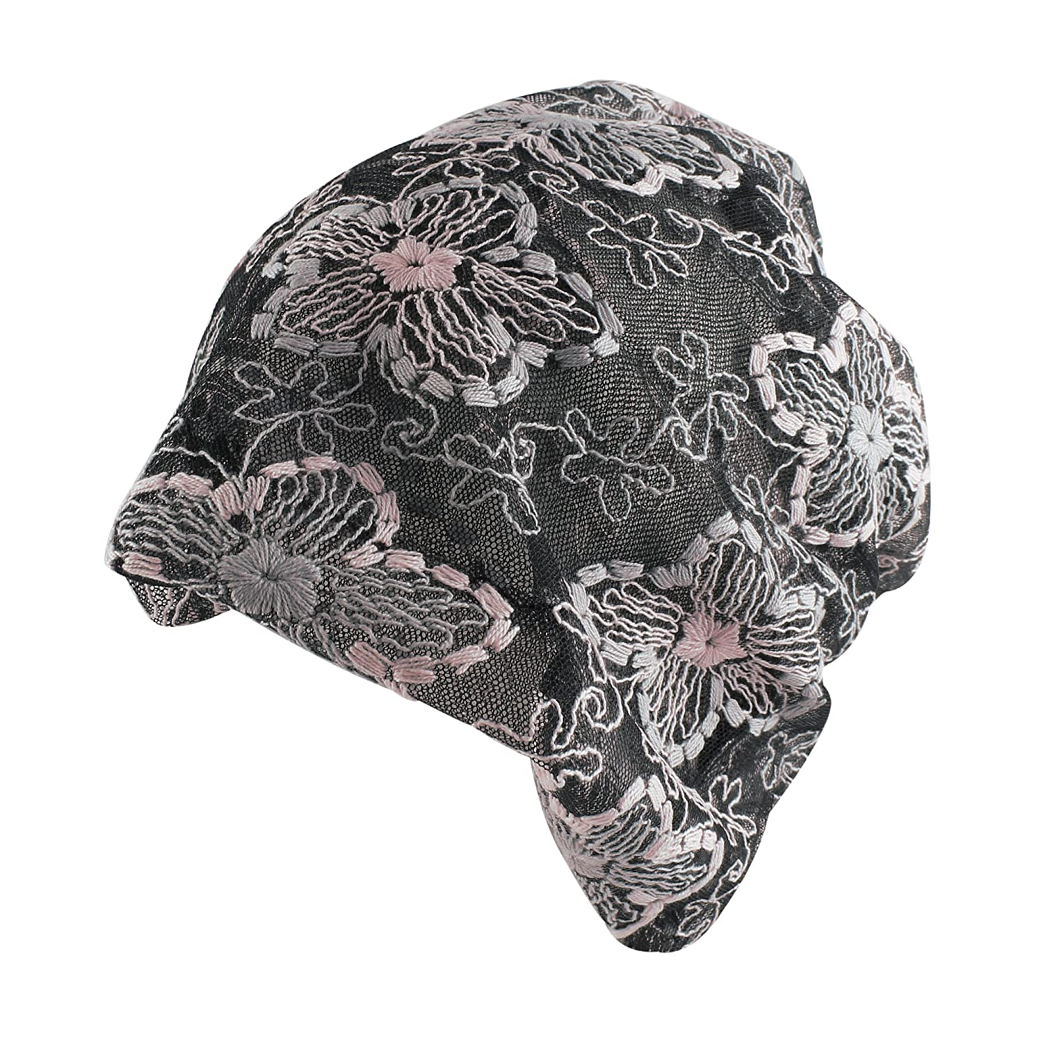 Morehats Floral Stitched Slouchy Mesh Beanie Headband