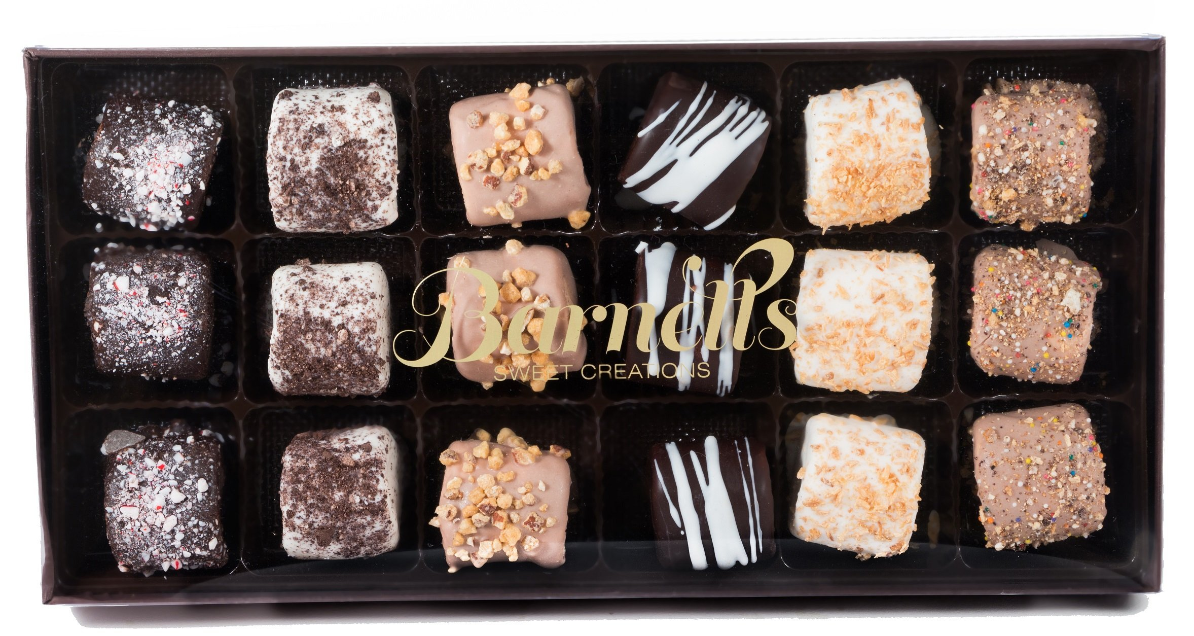 Barnetts Famous Chocolate Covered Marshmallow | Hand Dipped in Luxurious Dark, White, and Cappuccino Chocolate | Coated with 6 Decadent Premium Toppings | Packed 8 Pieces in Elegant Giftbox