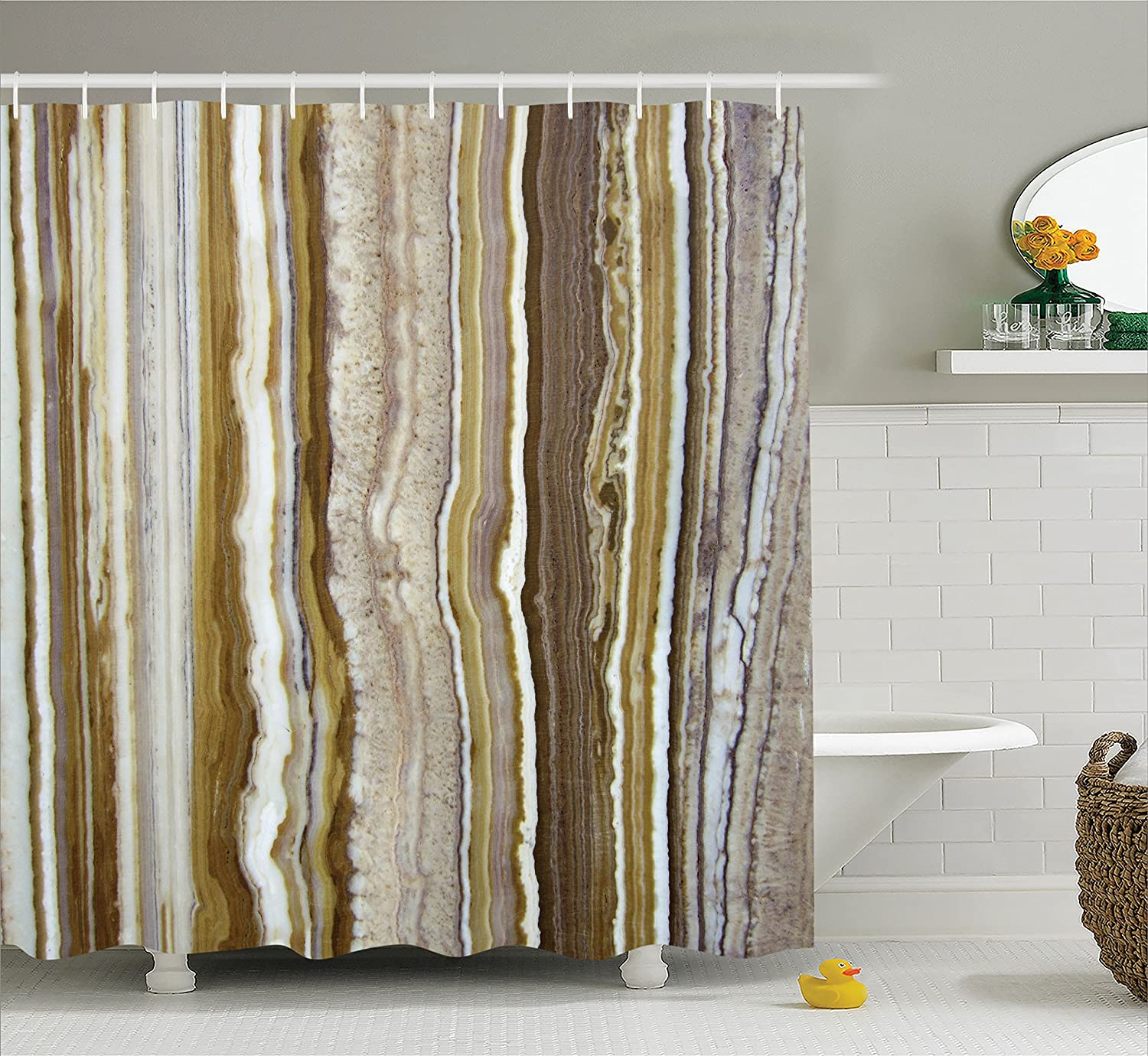 Apartment Decor Shower Curtain by Ambesonne, Onyx Marble Rock Themed Vertical Lines and Blurry Stripes Mustard Brown