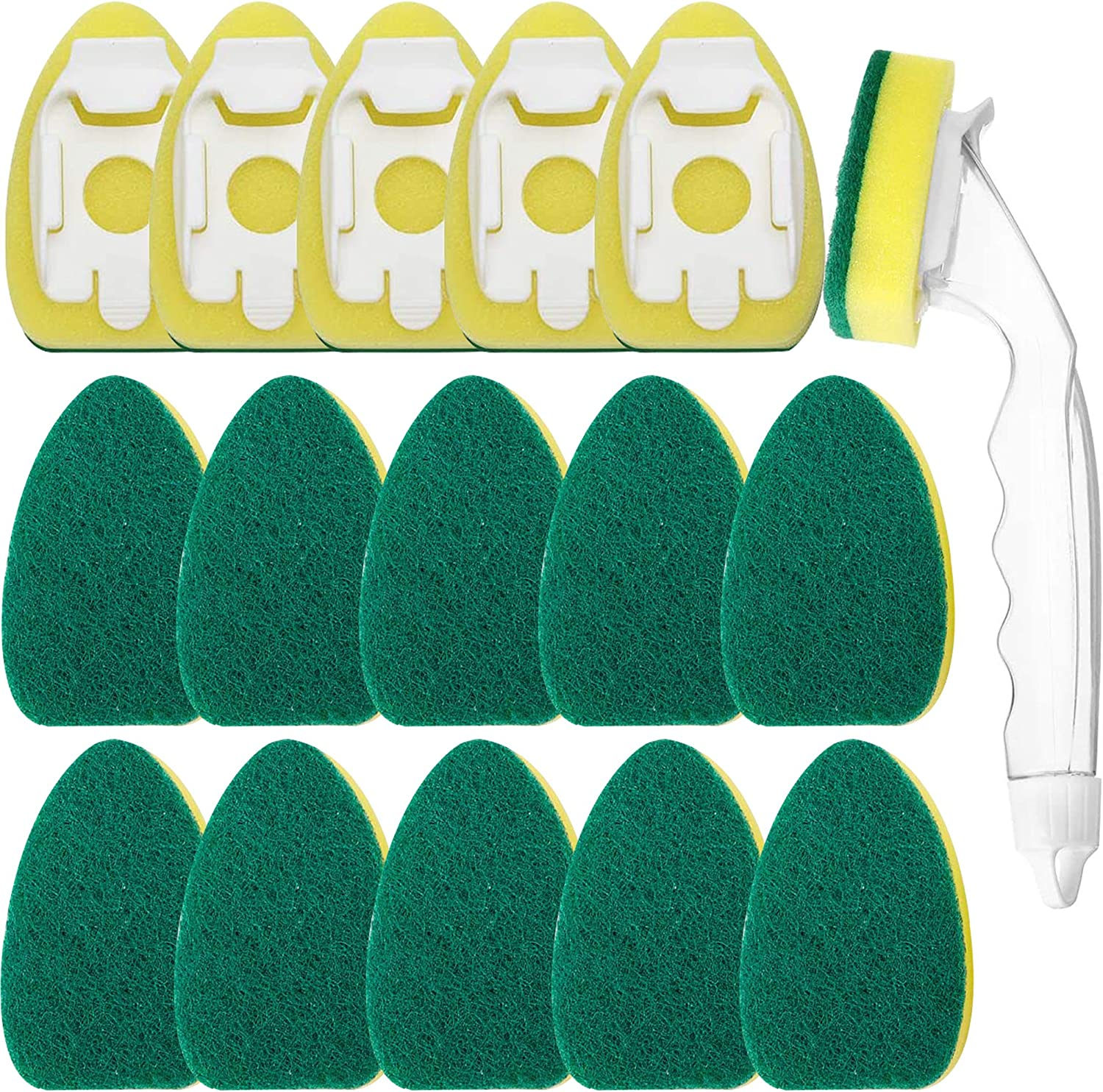 1 Dish Wands and 15 Pack Dish Refills Sponge Heads Brush Replacement Sponge Refill Sponge Pads for Kitchen Room Cleaning Supplies