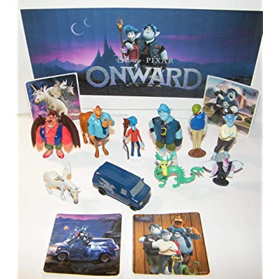 Onward Movie Deluxe Party Favors Goody Bag Fillers 14 Set with 10 Figures and 4 Fun Stickers Featuring Barley, Ian, Pixie Dewdrop, Dragon, Manticore and More!: Toys & Games