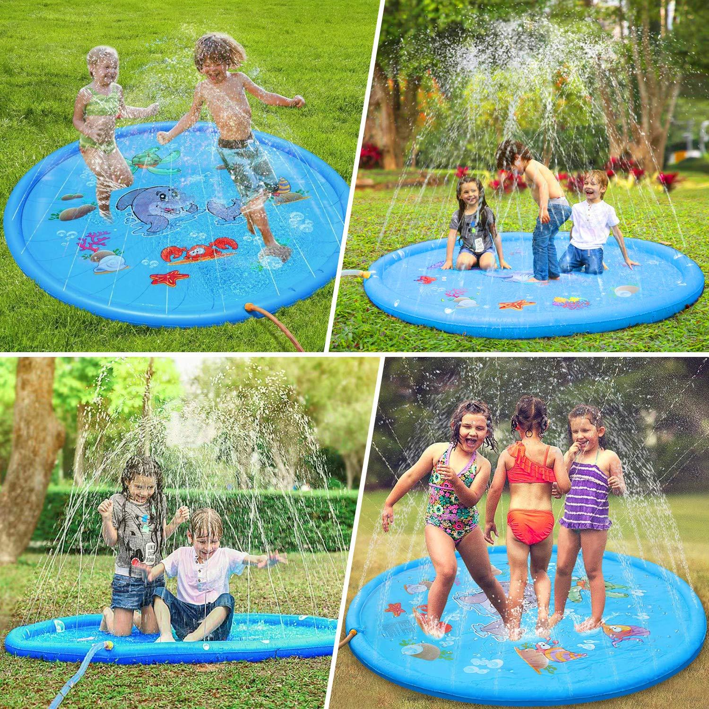 Hebytinco Splash Pad Splash Play Matte Wasser Spielmatte Sprinkler Wasserspielzeug Spielmatte Kinder Pool Matte Garten Wasserspielmatte Für Baby Party 170cm Baby